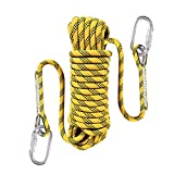 Liberry Outdoor Static Rock Climbing Rope,10 mm(3/8 in) Diameter, Fire Escape Safety Rappelling Rope Outdoor Rescue Rope with Hooks: 32_ft, 64_ft, 96_ft Optional (Yellow, 32 ft)