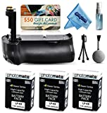 Multi Power Battery Grip + (3 Pack) Ultra High Capacity LP-E8 LPE8 Replacement Battery (2400mAh) for Prints + Lens Cleaning Kit for Canon EOS Rebel T2i T3i T4i T5i 550D 600D 650D 700D Kiss X4 X5 X6i X7i DSLR SLR Digital Camera (BG-E8 BGE8 Replacement)