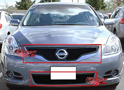 2010 2012 Nissan Altima Coupe Black Stainless Steel Mesh Grille Grill Combo  Insert #N71004H
