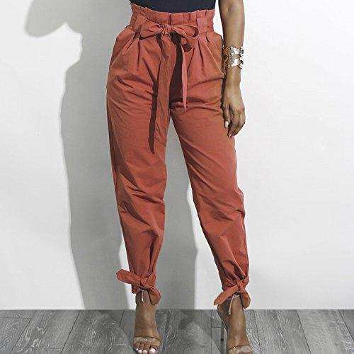 LAEMILIA Dcontract Haute Ceinture Slim Crayon Cordon Femme Taille Bowknot Pantalon avec Casual Brun 55q4cpAra