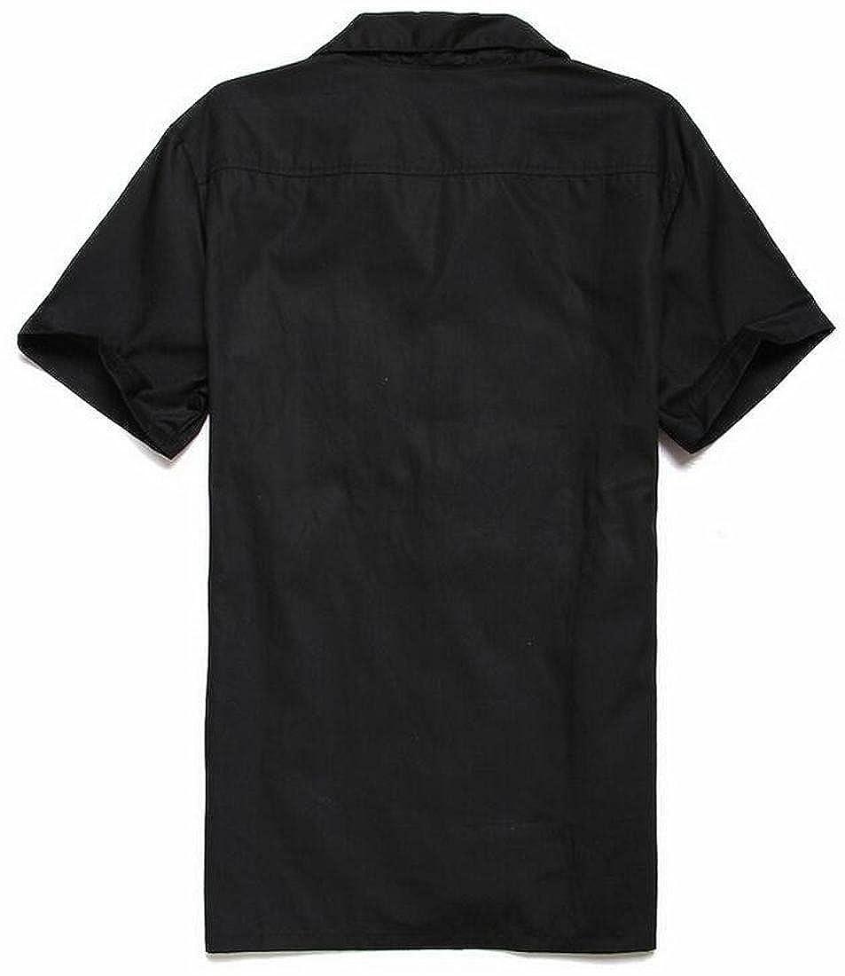 Jofemuho Men Color Block Relaxed Fit Lapel Short-Sleeve Button Down Dress Shirts