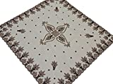Wedding Table Linens – Beige Net Fabric Hand Beaded Exclusive Tablecloth - India ~ 40 Inch X 40 Inch