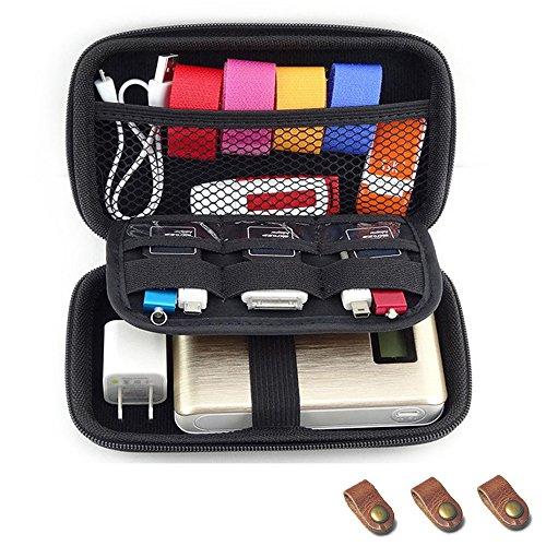 Fcheki EVA Shockproof Waterproof Portable Hard Drive Case Bag for Cable/USB Flash Drive/Power Bank/GPS Camera (Black)