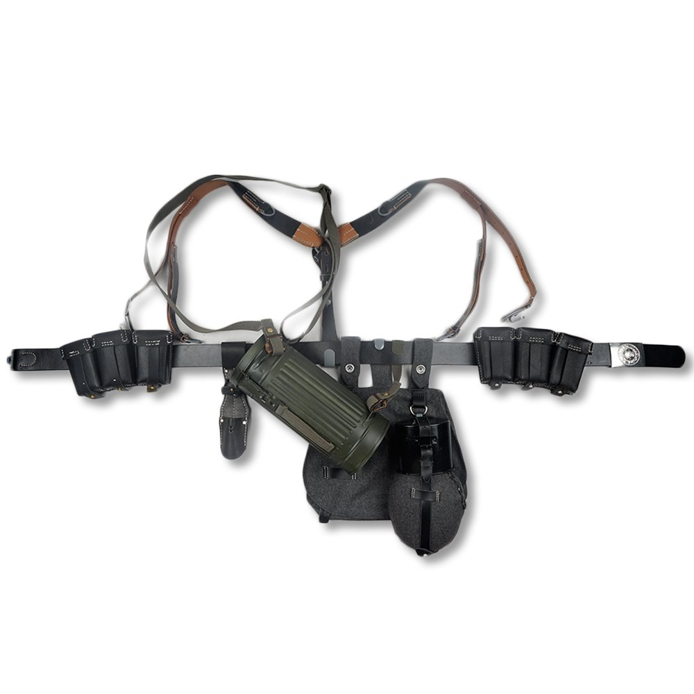zwjpw German 98 Kレザー弾薬ポーチ機器組み合わせSoliderベルトとYストラップ   B07FMWQCGF