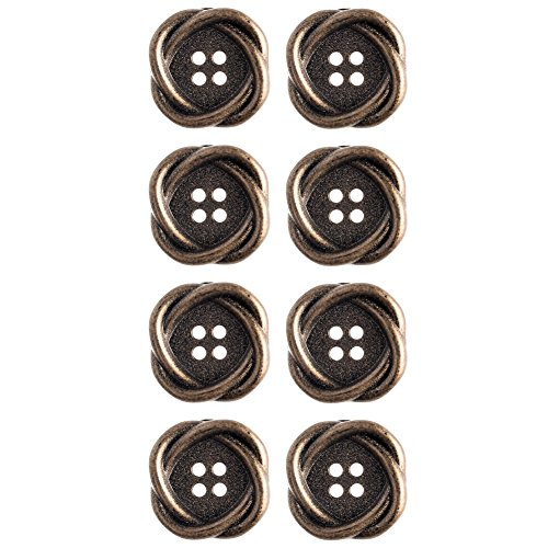 Shape Large Oval Ring (Mibo ABS Metal Plated Interlocking Oval Ring Shape 4 Hole Antique Brass Button 22 mm 8 Pack)