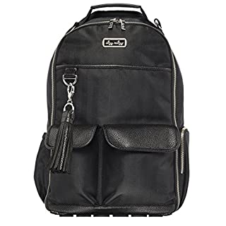 Itzy Ritzy Diaper Bag Backpack – Large Capacity Boss Backpack Diaper Bag Featuring Bottle Pockets, Changing Pad, Stroller Clips and Comfortable Backpack Straps, Black Herringbone