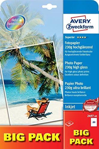 AVERY Zweckform 2497-40 Superior Inkjet Fotopapier (DIN A4, einseitig beschichtet, hochglänzend, 230 g/m², 40 Blatt)