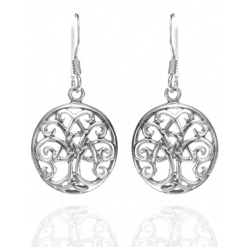 925 Sterling Silver Celtic Tree Of Life Trinity Knot Dangle Earrings - Nickel Free