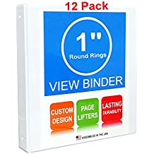 3 Ring Binder, 1 Inch, Round Rings, White, Clear View, Pockets, 12 Pack
