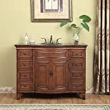 Stufurhome GM-5115-48-BB Yorktown Single Vanity with Granite Top in Baltic Brown with with White Under mount Sink, 48', Dark Cherry Finish