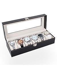SUPPION 6 Slots Wrist Watches Jewelry Display Storage Organizer Leather Box Casec