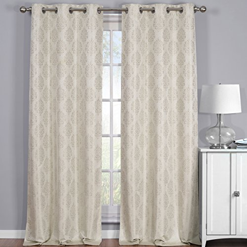 Royal Hotel Paisley Jacquard Beige, Top Grommet Blackout Window Curtain Panels, Pair/Set of 2 Panels, 38x84 inches Each, by (Window Panel Paisley)