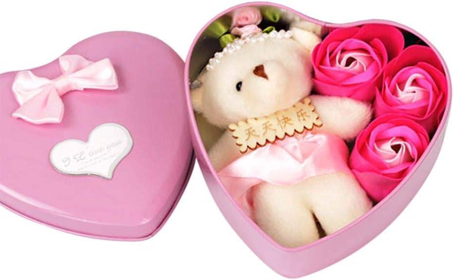 aniversario Bebliss 3Pcs Caja de regalo con forma de coraz/ón de p/étalo de flor de rosa perfumada con ba/ño de oso Regalo de jab/ón de cuerpo Favor de fiesta de boda para el d/ía de San Valent/ín