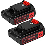 2packs replace Battery for Black and Decker 20v Max 2500mAh,LBXR20 Replacement Battery LB20 LBX20 LBX4020 Extended Run Time Cordless Power Tools Series