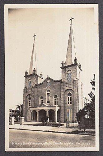 St Mary's Star of the Sea Catholic Church Key West FL RPPC postcard 1950s