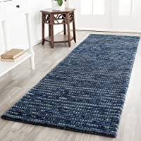 Safavieh Bohemian Collection BOH525G Hand-Knotted Dark Blue and Multi Jute Runner (26 x 8)