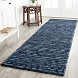 Safavieh Bohemian Collection BOH525G Hand-Knotted Dark Blue and Multi Jute Runner (2'6'' x 8')