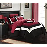 Chic Home 10-Piece Duke-Pieced Color Block Bed in A Bag Comforter Set, King, Red