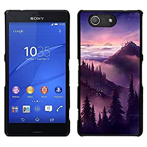 For Sony Xperia Z3 Compact , S-type® Sunset Sunrise Mountains Trees - Arte & diseño plástico duro Fundas Cover Cubre Hard Case Cover