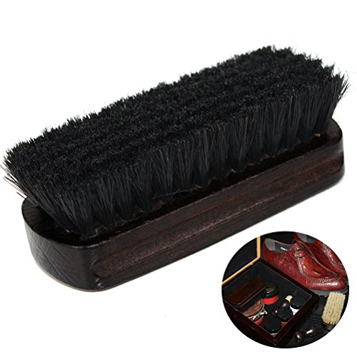 Tinksky Boot Brush Cleaner Shine Shoe Pig Bristles Brush with Wood handle, Mother's Day Gifts (Black)