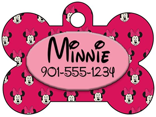 Disney Minnie Mouse Pet Id Tag for Dogs & Cats Personalized w/ Name & Number]()