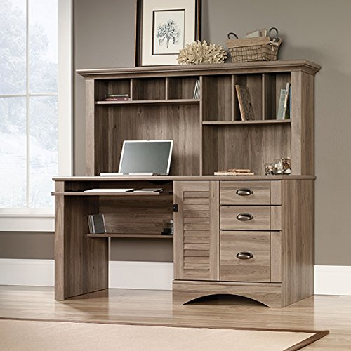 Sauder 415109 Salt Oak Finish Harbor View Computer Desk with Hutch
