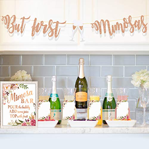 MORDUN Mimosa Bar Supplies - Rose Gold Sign Banner Tags Kit- Bridal Shower Decorations - Decor for Baby Shower Champagne Brunch Bubbly Bar Wedding Engagement Birthday Party Graduation Fiesta ()