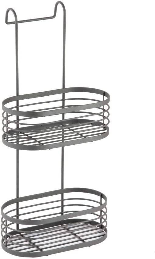 Blue Canyon 2 Tier Grey Over Shower Screen Caddy Hanging Bathroom Organiser Shower Rack Storage Tidy