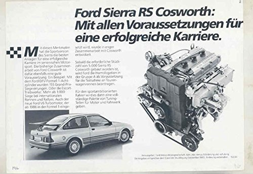 Amazon.com: 1986 Ford Sierra RS Cosworth Turbo Brochure Germany: Entertainment Collectibles