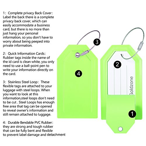 PVC Rubber Luggage Tags w/Full Privacy Flap,Great for Luggage Cases Identification by Goldzone (Green-4 Pack) by Goldzone (Image #3)