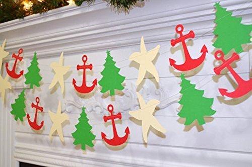 Nautical Christmas Theme.Amazon Com Nautical Christmas Garland Red Anchor Cream