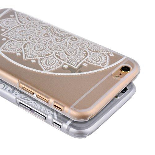 GrandEver 2x 3D Relief Transparent Case Schutzhülle für iPhone 6 (4.7') Hülle Protective Cover Handy Tasche PC Hard Case für Liebhaber und Freunde Weiß Blume Muster Shell Schale Etui für Mädchen und J