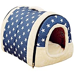 Freerun Portable Soft Sided Plush Pillowed Indoor Small Dog or Cat Convertible Pet House / Bed - Blue, S