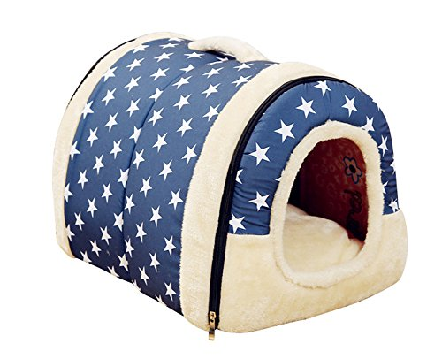Freerun Portable Soft Sided Plush Pillowed Indoor Small Dog or Cat Convertible Pet House / Bed - Blue, M