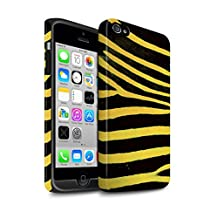 STUFF4 Matte Tough Shock Proof Phone Case for Apple iPhone 4/4S / Yellow Design / Zebra Animal Skin/Print Collection