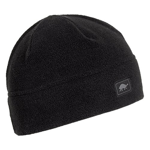 Turtle Fur Midweight Multi-Season Beanie, Chelonia 150 Fleece Hat, Black -