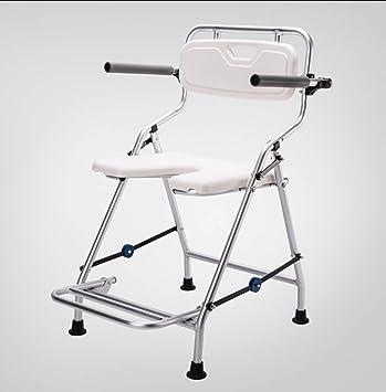 DNSJB silla de baño Plegable con reposabrazos y Respaldo Silla de Ducha Antideslizante de aleación de