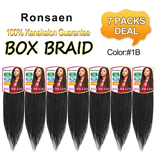 Ronsaen Box Braids Crochet Hair 100% Kanekalon Crochet Box Braids Hair (18