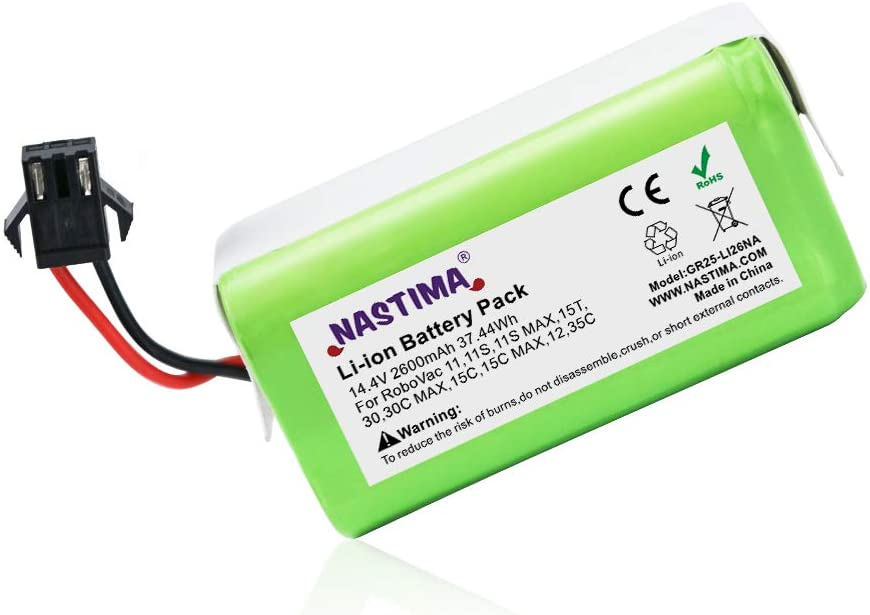NASTIMA 14.4V 2600mAh Lithium ion Replacement Battery Compatible with Eufy RoboVac 11, 11S,11S MAX, 30, 15C, 15T, 12, 35C and Ecovacs Deebot N79, N79S, DN622