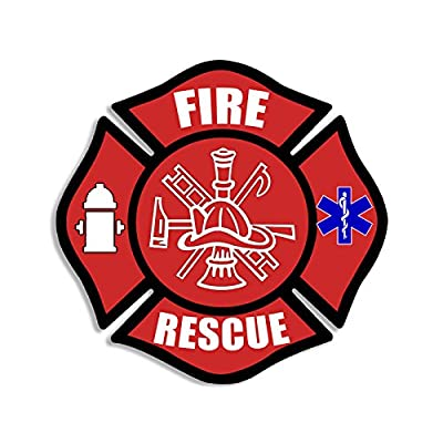 American Vinyl Red FIRE Rescue Maltese Cross Shaped Sticker (Decal EMT Medic Firefighter): Automotive