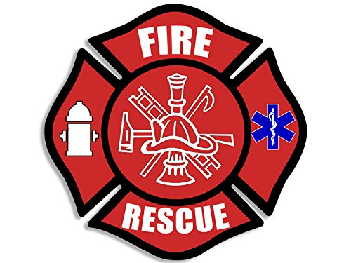 FIRE RESCUE Maltese Cross Shaped Sticker (decal emt ems medic firefighter) - Firefighter Emt Decals