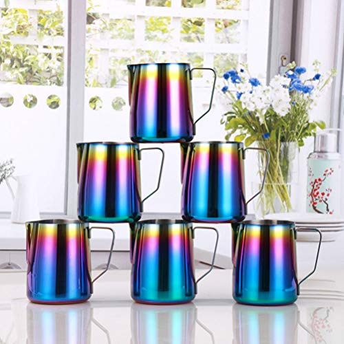 Milk Frothing Pitcher Stainless Steel – BEMINH Rainbow Color Custom Coffee Mugs – Milk Steaming Frother for Espresso…