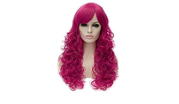 Amazon.com: Toptheway Long Loose Curly Hot Pink Wig Synthetic Cosplay Costume Hair Wig: Beauty