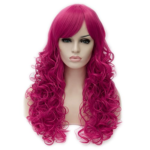 Toptheway Long Loose Curly Hot Pink Wig Synthetic Cosplay Costume Hair Wig (Hot Cosplay Women)