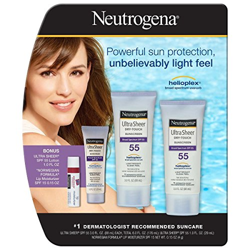 Neutrogena Ultra Sheer Sunscreen Lotion SPF 55,2-pack 3.0 oz. with Lip Balm - Neutrogena Lip Sheers
