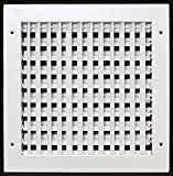 14'' X 14'' ADJUSTABLE AIR SUPPLY DIFFUSER - HVAC Vent Duct Cover Sidewall or Cieling - Grille Register - High Airflow - White