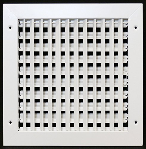 12″ X 10″ Adjustable AIR Supply Diffuser – HVAC Vent Cover Sidewall or Ceiling – Grille Register – High Airflow – White [Outer Dimensions: 13.75″w X 11.75″h]