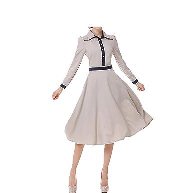 Amazon.com: F.Pansy Elegant European Lady Party Dress NEW Vintage Autumn Women Twill Long Sleeve Patchwork Lapel Collar OL Dress Vestidos: Clothing