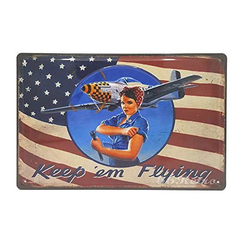 Sign Tin Flying (Keep em Flying, Retro Embossed Metal Tin Sign, Wall Decorative Sign)