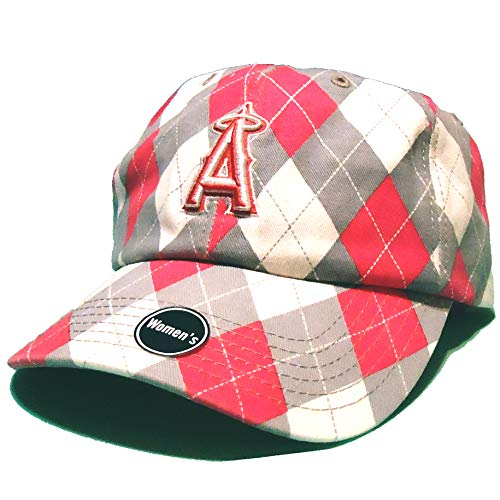 Argyle Golf Visor - 47 Brand Fan Favorites Womens Los Angeles LA Anaheim Angels Argyle Pink Strapback Clean Up Slouch Dad Cap Hat